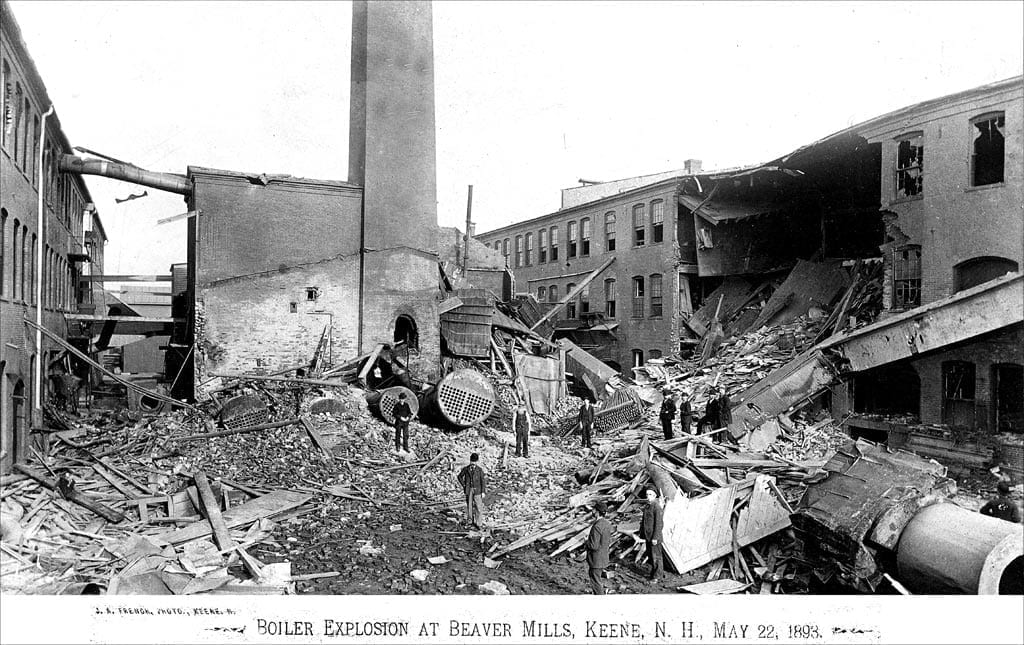 The Beaver Mills Boiler Explosion (Keene, New Hampshire)—pictured here—predates the first ASME Pressure Vessel Code, by just 7 years